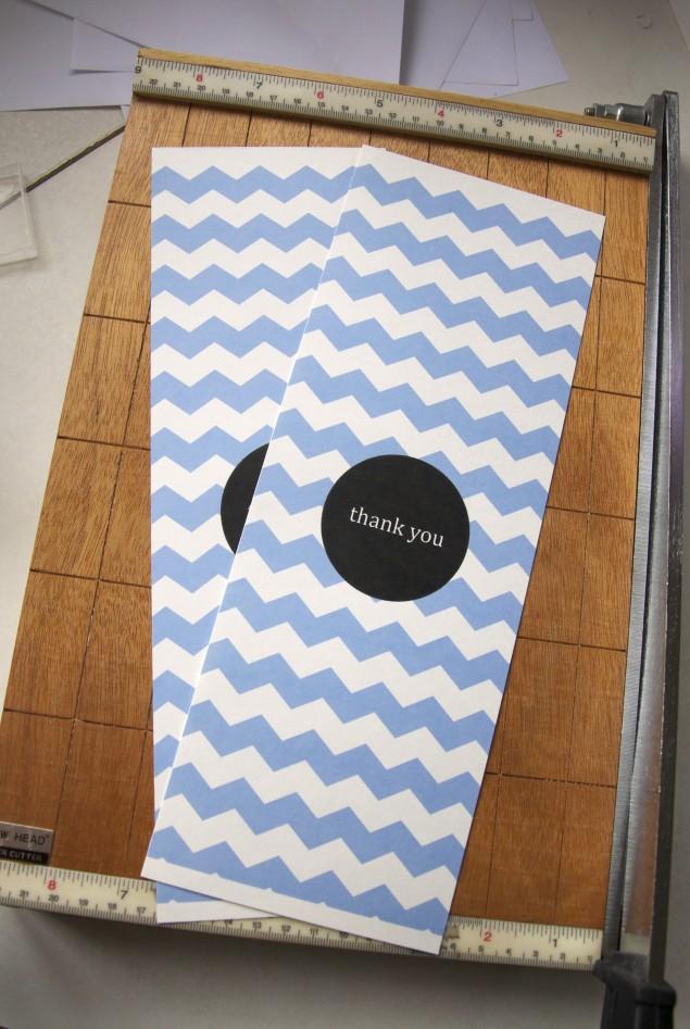 free thank you card design blue chevron print paper cutter vertical