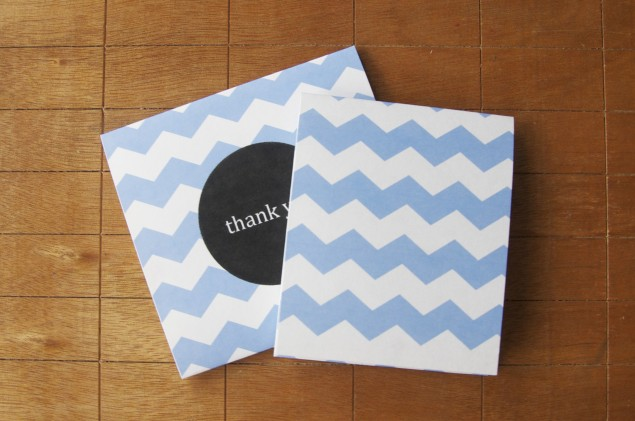free thank you card print out design blue chevron