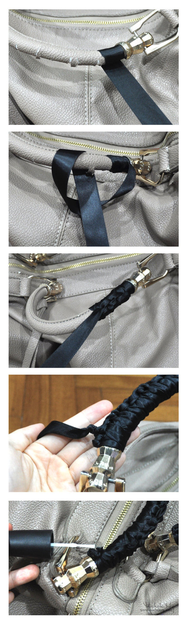 How to save torn PU leather bag handles with ribbon tutorial