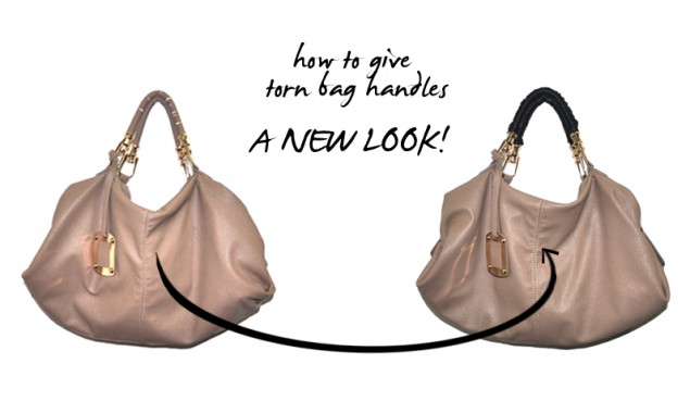 how to save torn bag handles and give it a new look with ribbon