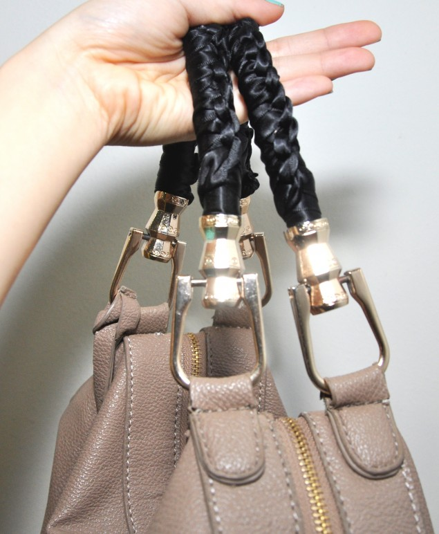 turn torn PU leather bag handles into brand new with ribbon