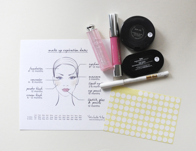 make up expiration date cheat sheet sticky dots marked