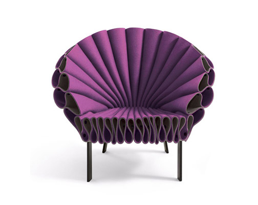 peacock felt chair by new york design studio dror