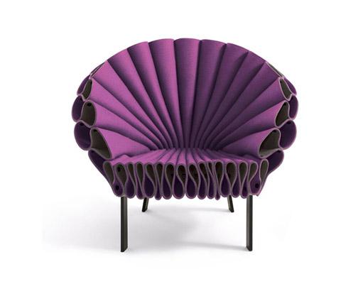 peacock felt chair by new york design studio dror