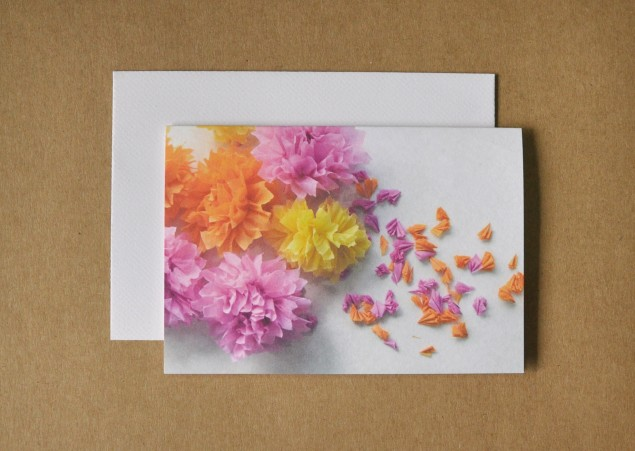 spray of crepe flowers photographed for a card