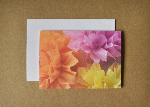 a combination of three crepe flowers photographed for a card