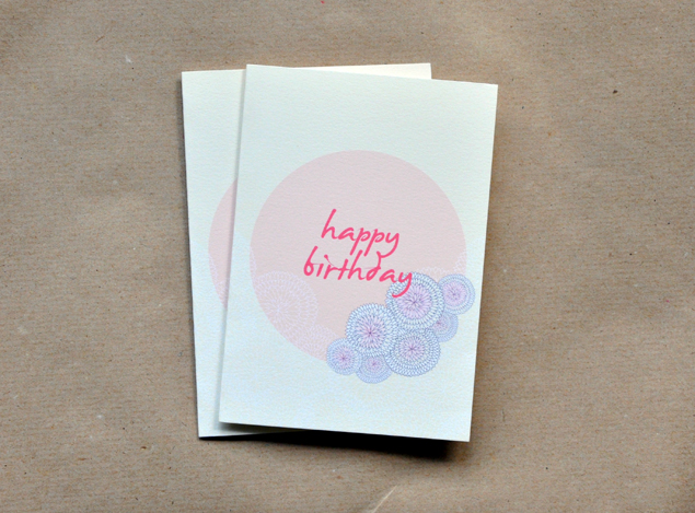 free printable birthday card flower ball