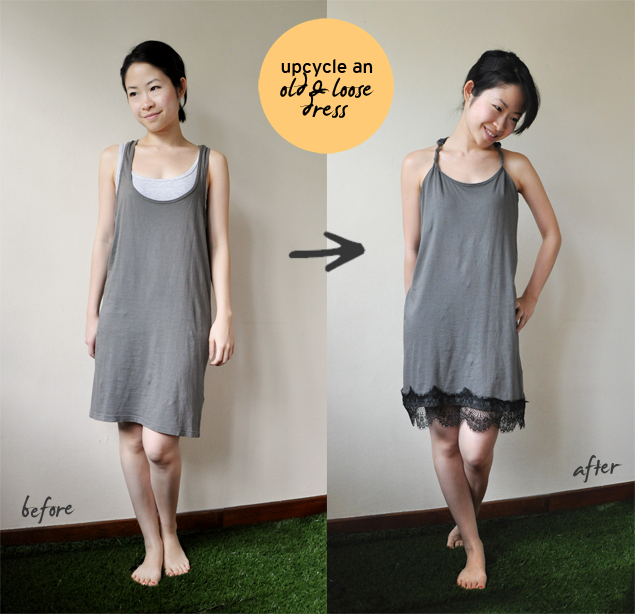 transforming an old and loose dress into a new lace dress tutorial