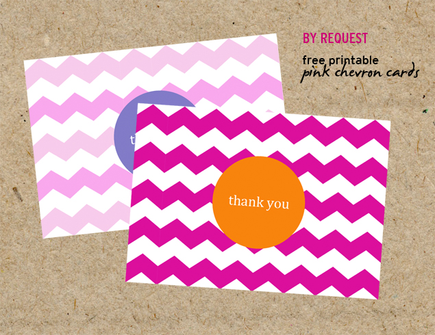 free printable pink chevron cards