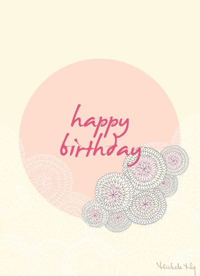 free printable download happy birthday flower ball card