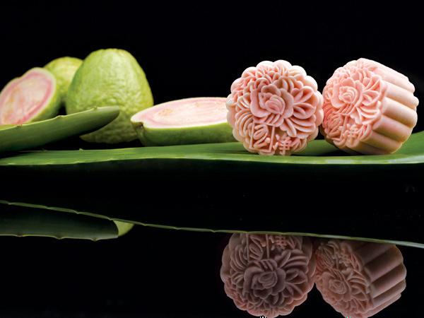 peony jade pink guava mooncake