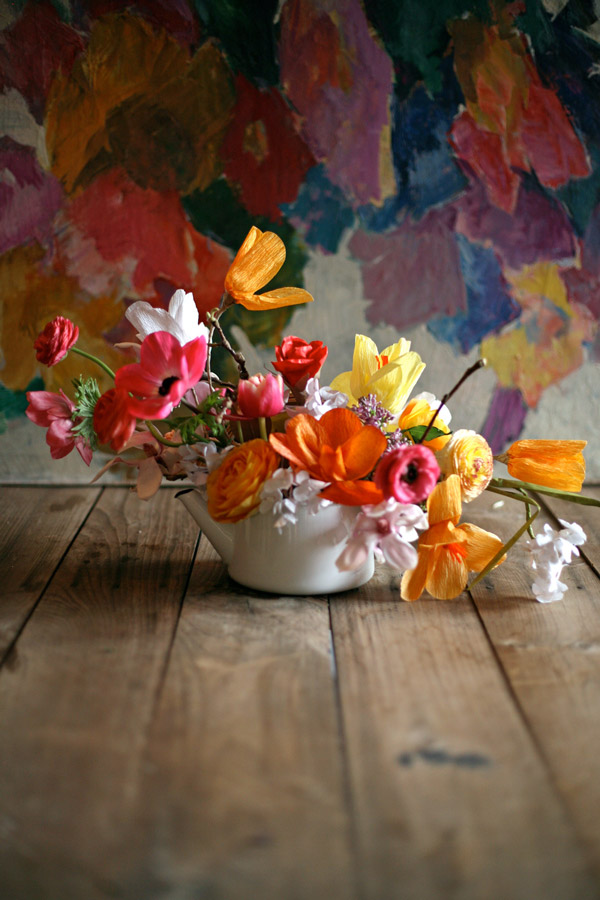 paper flowers mixed with real flowers