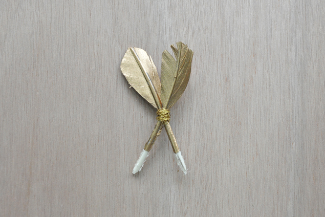 DIY gold dipped feather brooch pin