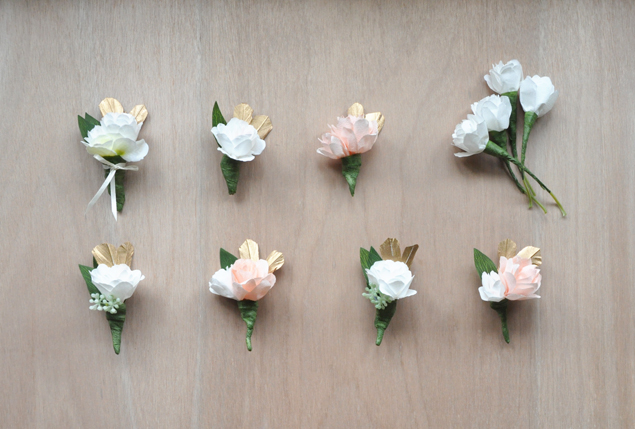 paper flower corsages and boutonnieres | micheleng.com
