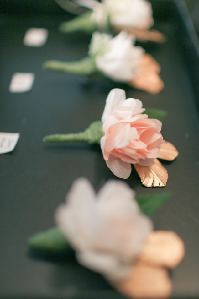 Paper flower corsage and boutonnieres | micheleng.com